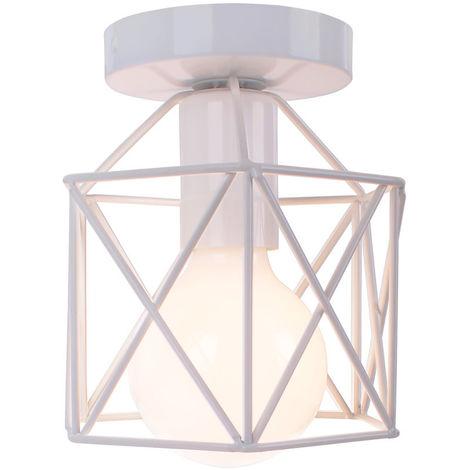 Vintage Industrial Lámpara de techo de interior Metal del Luz de Techo al ras ligero para pasillo porche dormitorio Blanco