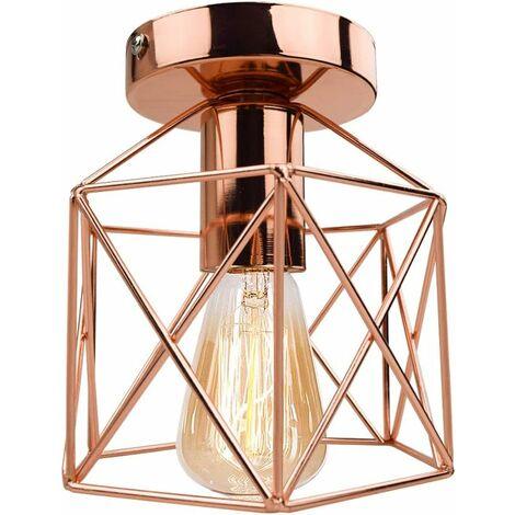 Vintage Industrial Lámpara de techo Metal del Luz de Techo al ras ligero para pasillo porche dormitorio color de Oro rosa