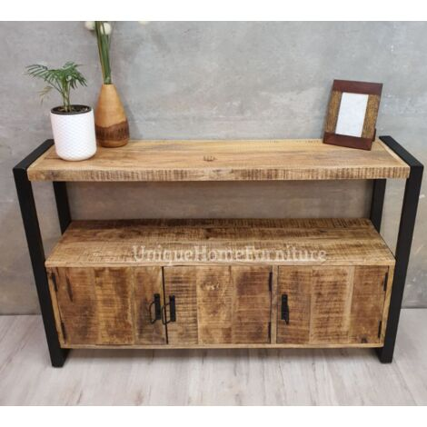 Vintage Industrial Sideboard Hall Console Table Metal Cabinet Storage Furniture