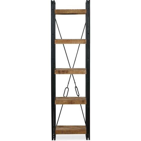 Vintage industrial style open book shelf column Natural wood