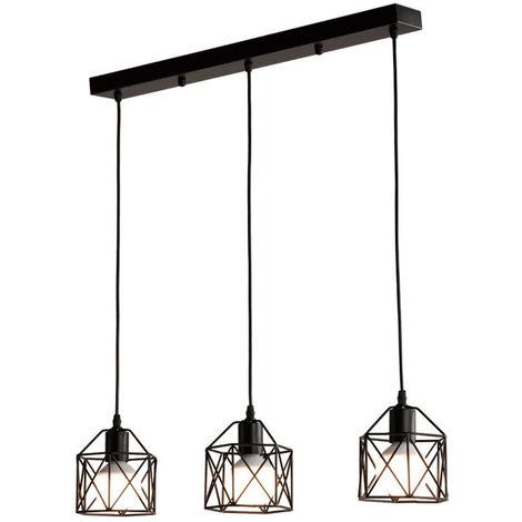 Vintage Industrielle Lustre Suspension Cage Métal E27 Fer Luminaire pour Restaurant Salon