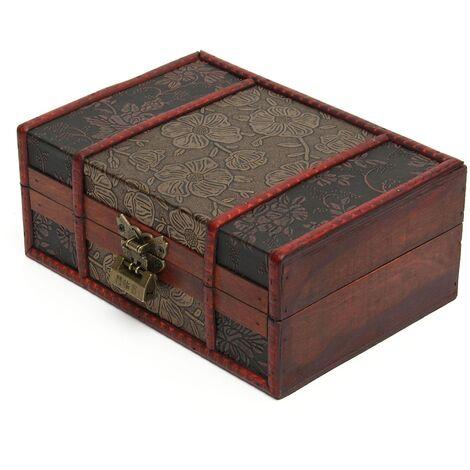 vintage joyería decorativa grande caja de almacenamiento de cofre de madera con cofre de tesoro LAVENTE