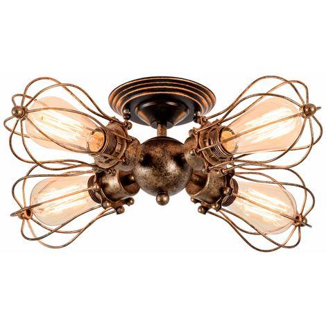 Vintage Lámpara de Techo 4 cabezas Combinación Forma de Tuberia de Agua Industrial Grupo de 4 Vías Iliminacion de Dormitorio Comedor Bar Loft?óxido?