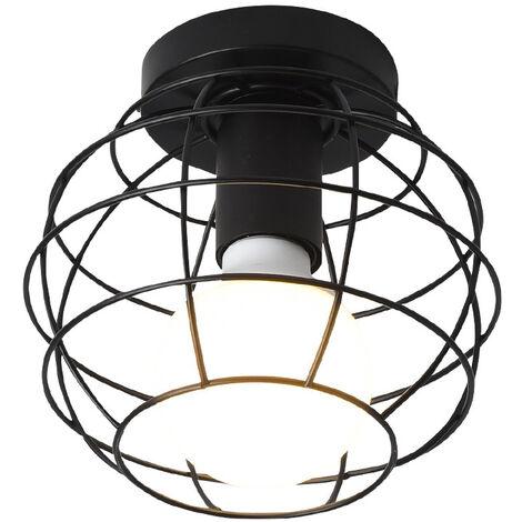 Vintage Lámpara de Techo de jaula forma de pelota Retro Lámpara colgante industrial Iluminación Metal Hierro E27 Negro