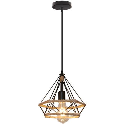 Vintage Lámpara de Techo Idustial Diamante Cuerda de cáñamo Pirámide Cage Pájaro Jaula Luz Colgante de Hierro Restaurante Bar Pasillo (Negro)