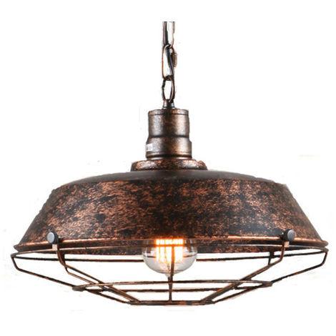 Vintage Lámpara de Techo Retro Colgante de 360mm Lámpara de Hierro Industrial E27 Decoración para Sala de estar Cocina Restaurante y Bar Color de óxido