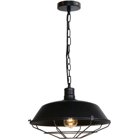 Vintage Lámpara de Techo Retro Colgante de 360mm (Negro)Lámpara de Hierro Industrial E27 Decoración para Sala de estar Cocina Restaurante Bar
