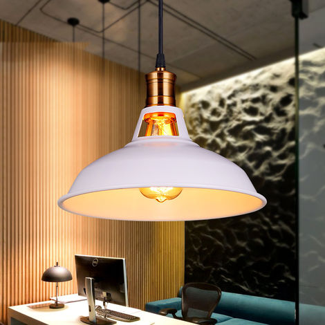 Vintage Lámpara de Techo Retro Colgante Iluminación Ø270mm (Blanco)Lámpara de Hierro Industrial E27 Decoración para Sala de estar Cocina Restaurante Bar