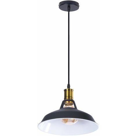 Vintage Lámpara de Techo Retro Colgante Iluminación Ø270mm (Negro)Blanco)Lámpara de Hierro Industrial E27 Decoración para Sala de estar Cocina Restaurante Bar