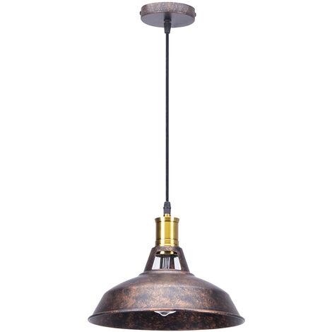 Vintage Lámpara de Techo Retro Colgante Iluminación de 270mm Lámpara de Hierro Industrial E27 Decoración para Sala de estar Cocina Restaurante Bar,óxido