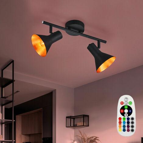 Vintage lampe plafonnier dimmable lampe de salon noir réglable inclus dans l'ensemble lampes LED RGB