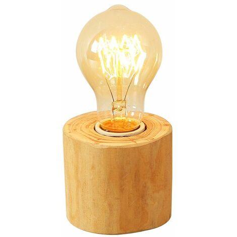 Vintage Lampes de Table avec Culot E27 Edison Luminaires Loft Industriel Socle en Bois Lampe de Bureau Lampe à Poser pour Chevet Cafe Bar