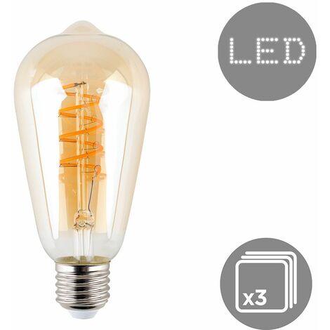 Vintage LED 4W ES E27 Amber Helix Filament Light Bulb - Single - Orange