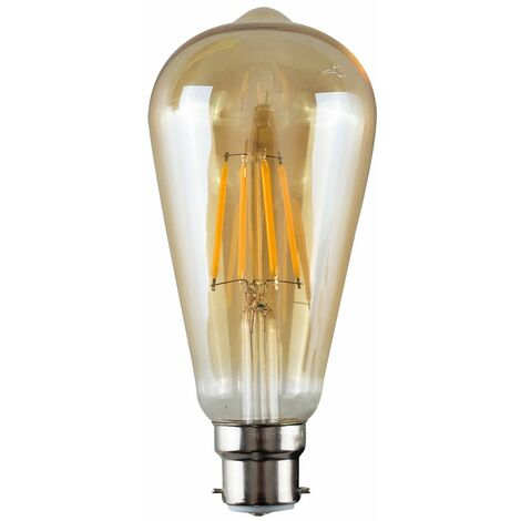 Vintage LED Bulbs Filament Pear Shaped B22 Lightbulb Lamp Amber A+