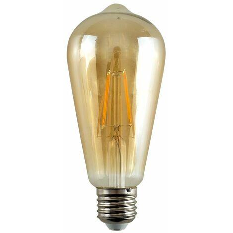 Vintage LED Bulbs Filament Pear Shaped E27 Lightbulb Lamp Amber A+ - Pack of 5 - Amber