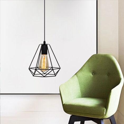 Vintage Luz Colgante 20CM Diamond Colgante de Luz Retro Industrial Lámpara Colgante de Altura Ajustable Lámpara Colgante para Sala de Estar Comedor Oficina Negra