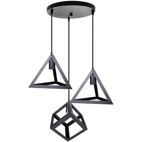 Vintage Luz Colgante Industrial Forma Geométrica Creativa Luz Colgante Altura Ajustable Lámpara de Techo 3 Cabezas para Cocina Granja Pasillo Interior Negro
