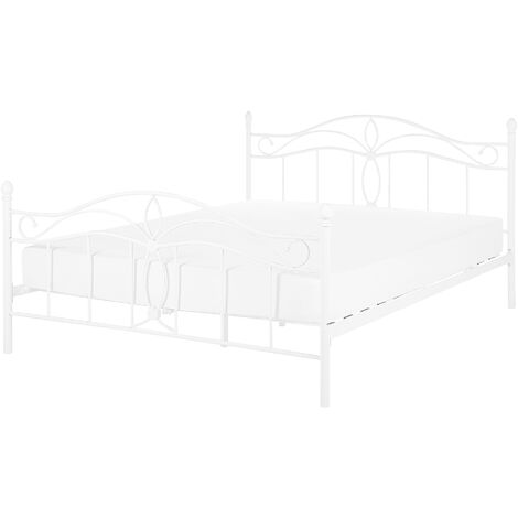 Vintage Metal EU Double Size Bed Frame 4ft6 Bedroom White Antlia