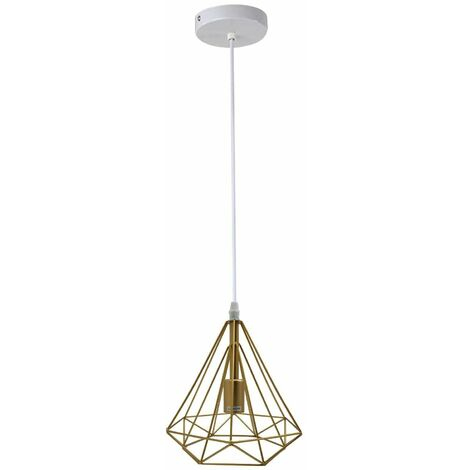 Vintage Metal Pendant Light Ceiling Industrial Modern Geometric Wire Cage Hanging Lampshade