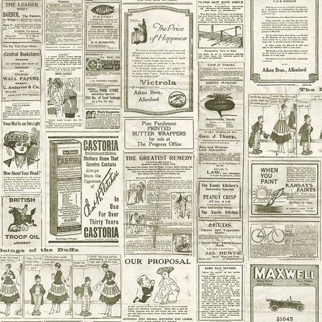 Vintage Newspaper Wallpaper Retro Old Adverts Black Cream Paste Wall Galerie