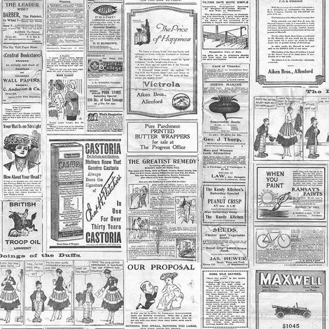Vintage Newspaper Wallpaper Retro Old Adverts Black Off White Paste Wall Galerie