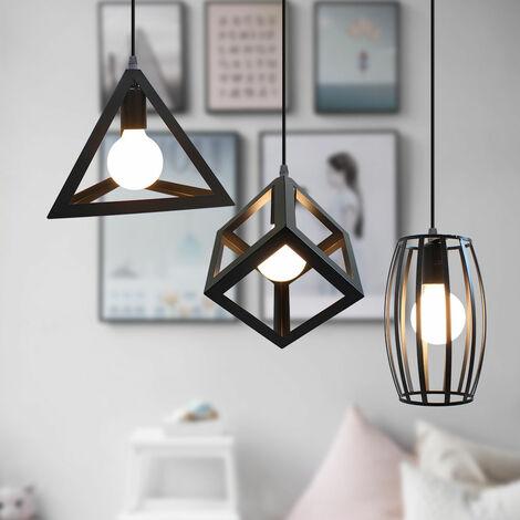 Vintage Pendant Light 3 Heads Retro Ceiling Lamp Creative Geometric Shape Hanging Lamp Antique Industrial Pendant Lamp for Cafe Bar Black