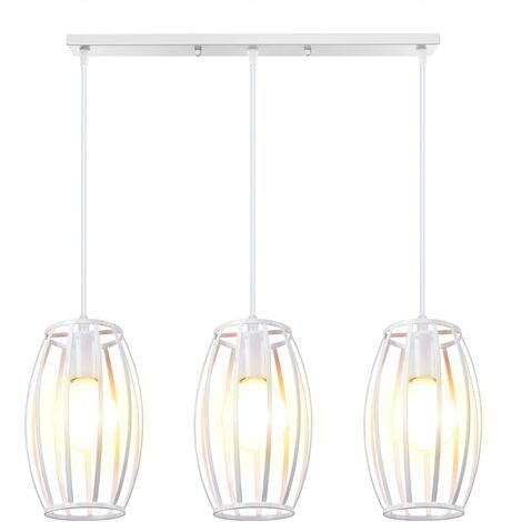 Vintage Pendant Light 3 Lamp Holders Metal Lampshade Industrial Chandelier Creative Waist Drum Shape Ceiling Light E27 for Kitchen Loft Hallway Decorative Lighting White