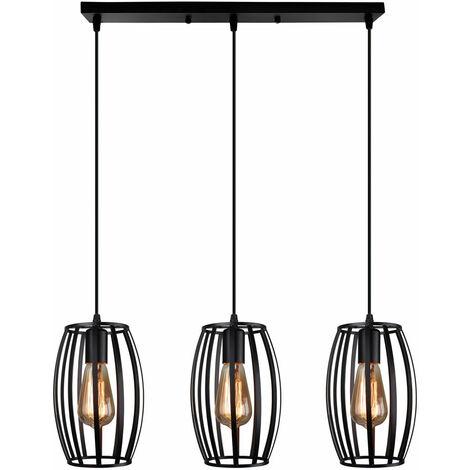 Vintage Pendant Light 3 Lights Metal Lampshade Industrial Chandelier Creative Waist Drum Shape Ceiling Light E27 for Kitchen Loft Hallway Decorative Lighting Black