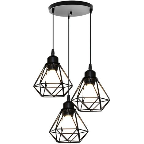 Vintage Pendant Light 3 Lights Mini Diamond Cage Shade Hanging Ceiling Lamp for Kitchen Dining Room