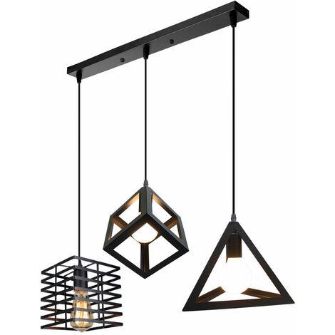 Vintage Pendant Light Industrial 3 Light Geometric Black Cage Hanging Ceiling Lamp Fitting