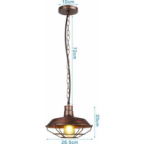 Vintage Pendant Light Industrial Ceiling Light Retro Antique Pendant Lamp Rust 260mm Iron Metal Chandelier E27