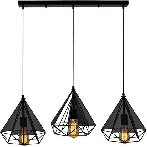 "main image of ""Vintage Pendant Light Retro Gauze Pendant Lamp Diamond 25CM Chandelier Metal Iron Lampshade 3 Lights Antique Indoor Hanging Light E27 for Loft Dining Room Black"""