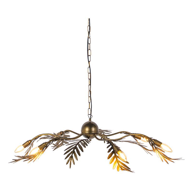 Qazqa - Vintage Pendelleuchte 6-flammig gold - Botanica