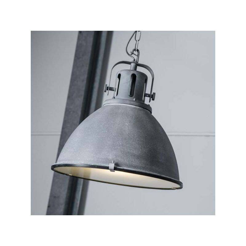 Lightbox - Vintage Pendelleuchte im Industry Beton Design mit Glasscheibe, 1x E27 max. 60W, Metall / Glas, grau Beton-'LB00000684'