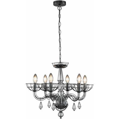"""main image of """"VINTAGE pendule lustre salle à manger lustre cage suspension plafonnier noir Fisher 60500"""""""