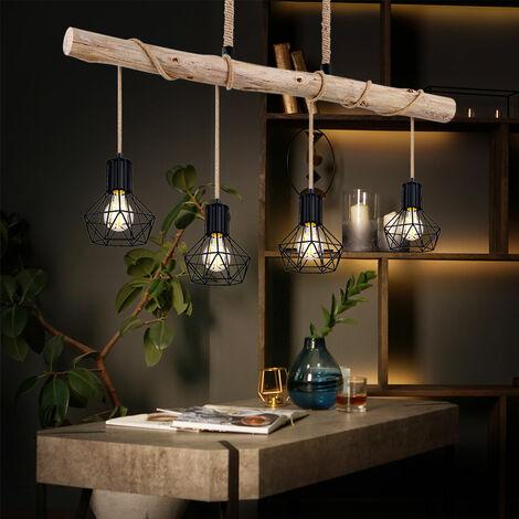 VINTAGE péndulo lámpara de techo vigas de madera comedor celosía lámpara colgante negro Globo 54017-4HH