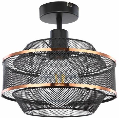 VINTAGE plafón rejilla sala de estar foco lámpara de jaula BLACK-GOLD Globo 54020D