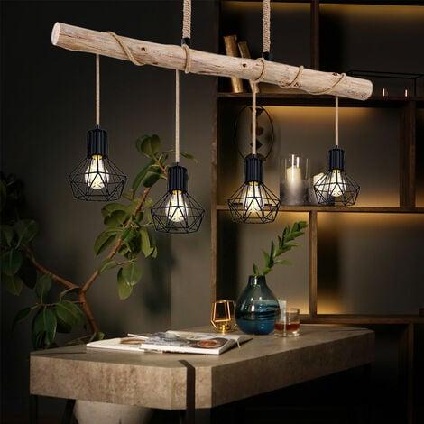 VINTAGE plafonnier pendule poutre bois salle à manger treillis suspension noir Globo 54017-4HH