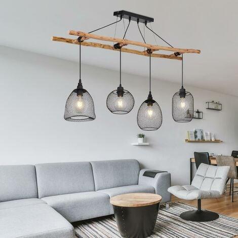 VINTAGE plafonnier suspension lampe suspension escalier bois éclairage noir Globo 15391-4H