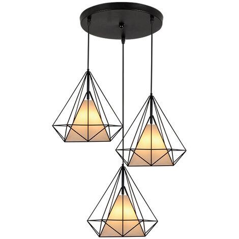 Vintage Retro Ceiling Lamp 3 Lights Ceiling Light 20cm Cage Pendant Lamp Black Creative Nordic Chandelier Diamond Shape Pendant Light