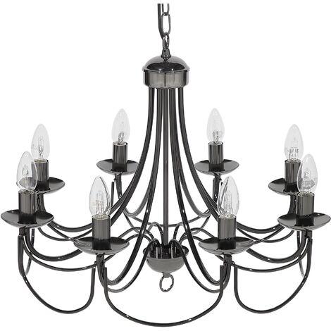 Vintage Retro Chandelier Lamp Black Glossy Metal Victorian Style Teesta
