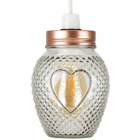 Vintage Retro Lampshades Glass Jar Heart Design Ceiling Pendant Light Shade - Copper