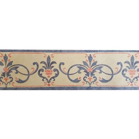 Vintage Retro Ornament Scroll Medallion Wallpaper Border Blue Beige Textured
