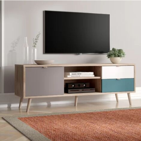 Vintage Retro TV Stand Media Storage Unit White Grey Furniture Low Board Cabinet