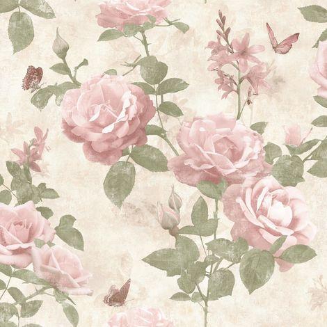 Vintage Rose Floral Wallpaper Blush Pink Cream Fabric Effect Chic Flowers Rasch