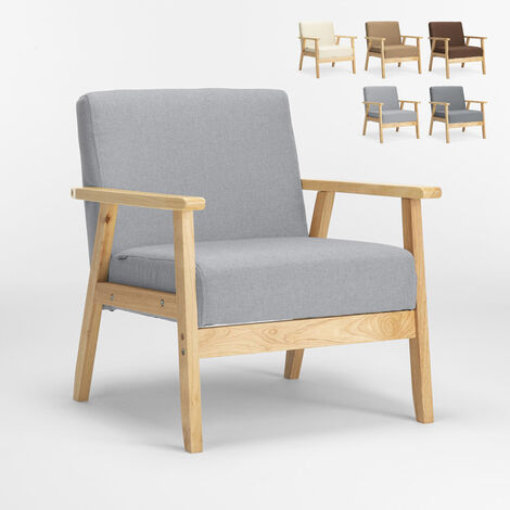 Vintage Scandinavian retro design wooden armchair chair with armrests UTEPLASS