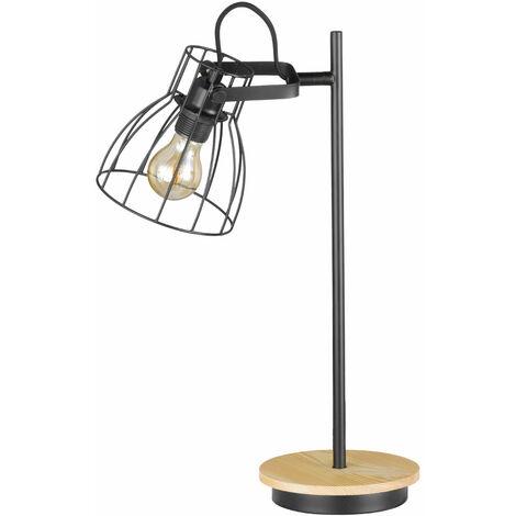 Vintage Schreib Nacht Tisch Lampe Filament schwarz Wohn Zimmer Holz Leuchte Spot beweglich im Set inkl. LED Leuchtmittel