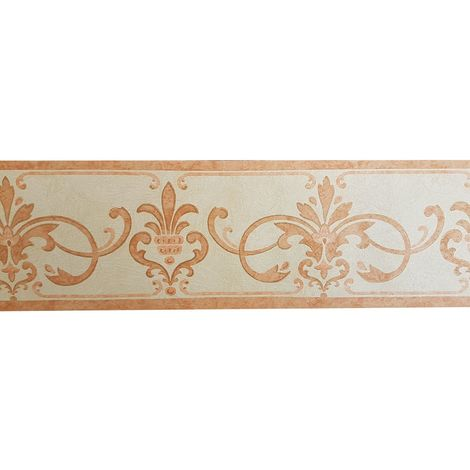 Vintage Scroll Watercolour Effect Wallpaper Border Orange Cream Textured