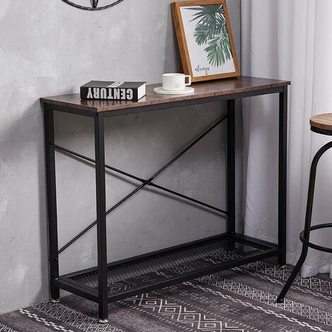 Vintage Slim Narrow Hallway Console Table Rustic Wood Industrial Metal Shelf
