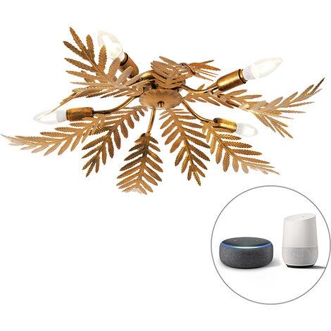 Vintage Smart ceiling lamp gold incl. 5 WiFi E14 - Botanica